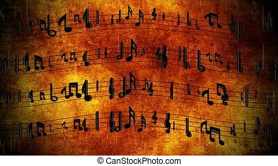 Sheet music with notes in motion Loop vintage Animation. Notes flow over musical lines. Symbolizes the music flowing in time. For event, concert, title, music videos, art, show, party, Award, fashion.