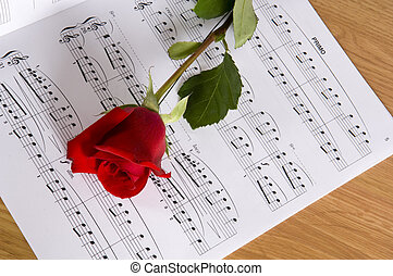 Sheet Music with Rose