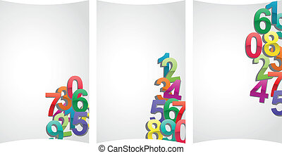 sheet numbers - illustration set of sheet with color numbers