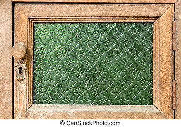 Sheet of glass texture green star pattern for wood window