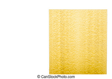 Sheet of lasagne on the white background