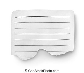 Sheet of lined paper isolated on white background