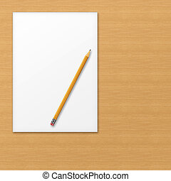 Sheet of office paper with yellow pencil on wooden background.