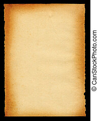 sheet of old paper yellowed on edges