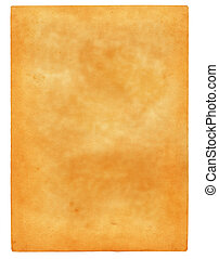 sheet of old spotted paper isolated on pure white background