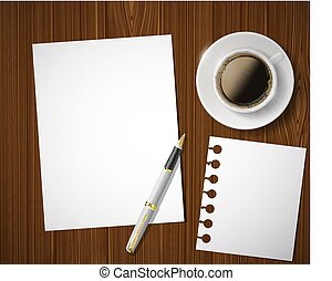 sheet of paper and a cup of coffee on a wooden table