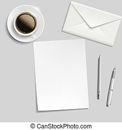 sheet of paper, envelope, pen and cup of coffee on the table