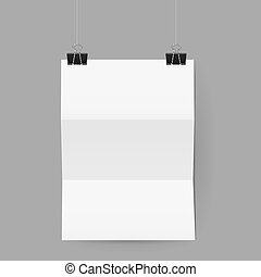Sheet of paper folded in three hanging on paper clips -...