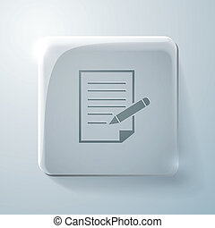 sheet of paper. Glass square icon.