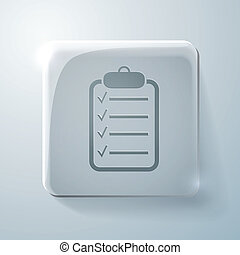sheet of paper. Glass square icon