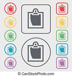 sheet of paper icon sign. symbol on the Round and square buttons with frame. Vector
