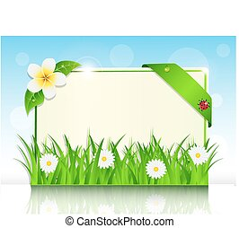sheet of paper in the green grass