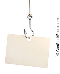 Sheet of paper on fishing hook - Empty sheet of a paper,...