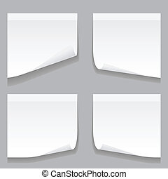 Sheet of paper on grey background. Illustration, vector
