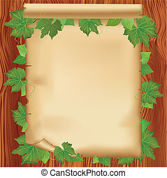 Sheet of paper on wooden board with leaves