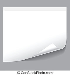 Sheet of paper isolated on grey background. Illustration, vector.