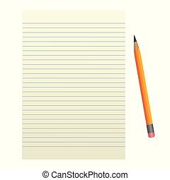 Sheet of paper with a pencil on a white background