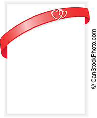 sheet of paper with a red ribbon