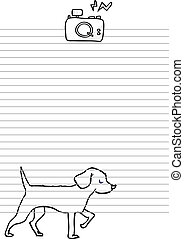 Sheet of paper with camera and dog.