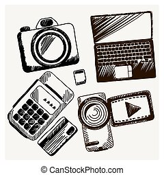 Sheet of paper with camera laptop cash mashines