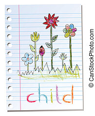 Sheet of paper with child illustrat