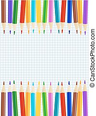 sheet of paper with color pencils row borders. vector