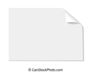 Sheet of paper with curl corner isolated on white background. Vector illustration