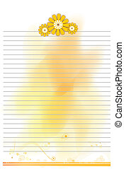 Sheet of paper with flower