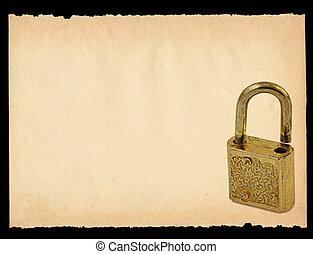 sheet of paper with old padlock motif