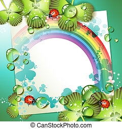 Sheet of paper with rainbow and clover over springtime background