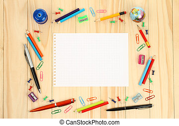 Sheet of paper with school office supplies