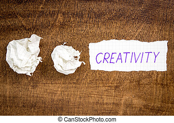 Sheet of paper with word CREATIVITY