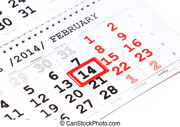 Sheet of wall calendar with red mark on 14 February - Valentines day