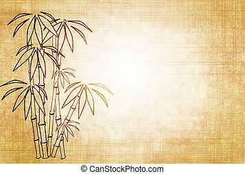 Sheet old paper with image of bamboo