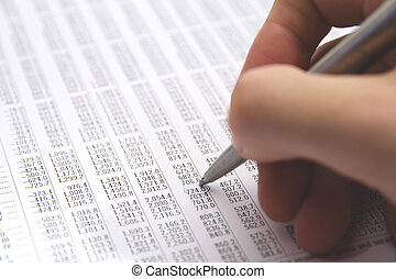 Sheet (table) with numbers - economist in action