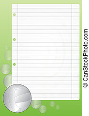 sheet volley - illustration of blank sheet with volley ball