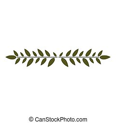 sheet with branch with leaves centered horizontally vector illustration