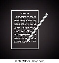 Sheet with text and pencil icon. Black background with white. Vector illustration.