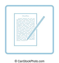Sheet with text and pencil icon. Blue frame design. Vector illustration.