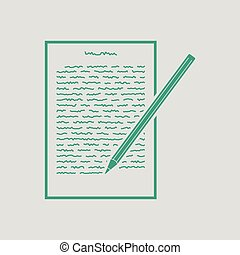 Sheet with text and pencil icon. Gray background with green. Vector illustration.