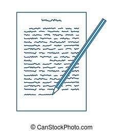 Sheet With Text And Pencil Icon. Thin Line With Blue Fill Design. Vector Illustration.