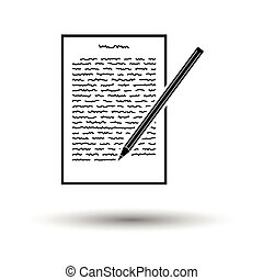 Sheet with text and pencil icon. White background with shadow design. Vector illustration.