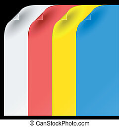 sheets of color paper with curled corners
