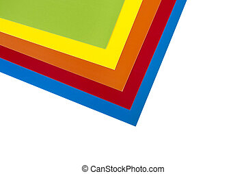 White cardboard on color sheets of paper isolated on white stock ...