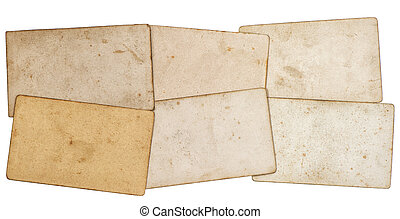 sheets of old grungy paper isolated on white