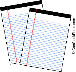 Sheets of paper from a notebook