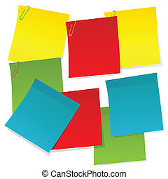 Sheets of paper in different colors