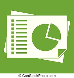 Sheets of paper with charts icon green