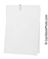 Sheets of paper with clip