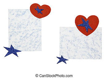 Sheets of paper with hearts and stars on a white background